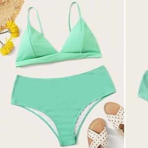 Other - New Plus Triangle Top With Textured Bikini Set